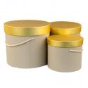 Набор коробок с золотой крышкой 3 шт. 3390-443 Песочные