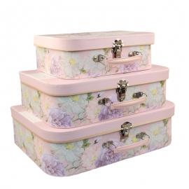 """Набір коробок """"Валіза з весняними квітами"""" з 3 шт W7564"""