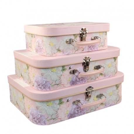"""Набор коробок """"Чемодан с весенними цветами"""" с 3 шт W7564"""