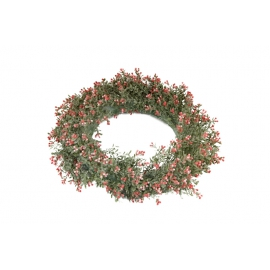 Wreath of artificial plants with red flowers