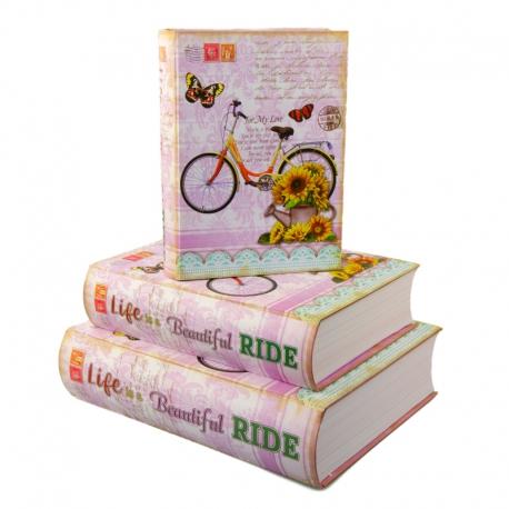 """Набор коробок для подарков с 3 шт. Книга """"Велосипед"""" 3013-SY336"""