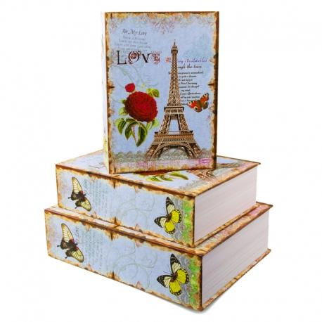 "Набор коробок для подарков с 3 шт. Книга ""Париж"" 8029-SY464"