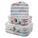 "Set of boxes ""Suitcase with flamingos in love"" from 3 pieces 8024-1721"
