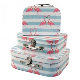 "Набор коробок ""Чемодан с влюбленными фламинго"" с 3 шт 8024-1721"