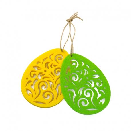 Decorative pendant - multi-colored felt eggs