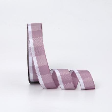Лента текстильная в клеточку 2.6cм x 18ярд R.BGL-034 Grey Violet
