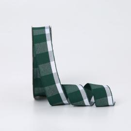 Стрічка текстильна в клітинку 2.6cм x 18ярд R.BGL-091 Emerald