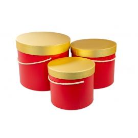 Набір коробок з золотою кришкою 3 шт. 3390-1535 Червоні