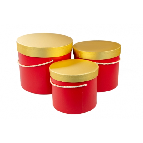 Набор коробок с золотой крышкой 3 шт. 3390-1535 Красные