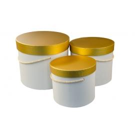 Набір коробок з золотою кришкою 3 шт. 3390-417 Білі