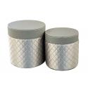 Набір круглих коробок для квітів 2 шт 119-3006 Grey
