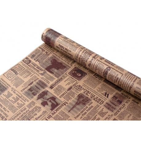 """Папір-Крафт 0,7 х 8м """"Газета"""" коричневим"""