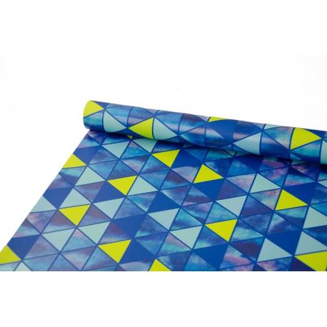Папір крейдований 0,7м х 10 ярд Біло-сині ромбики
