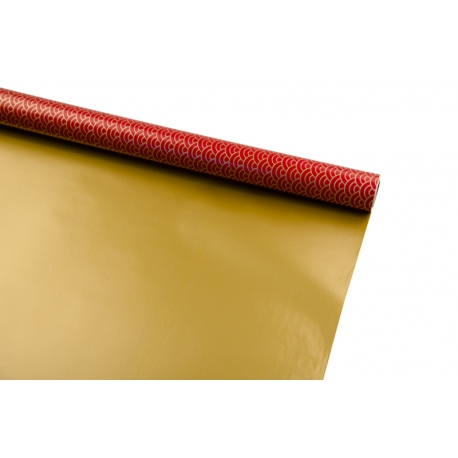 """Бумага тисненая и металлизированная 0,7 x 10м """"Золотое солнце на красном"""""""