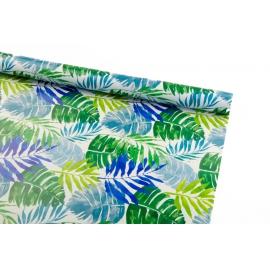 Бумага мелованная 0.7м х 10ярд «Синие и зеленые тропические листья»