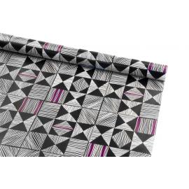 Бумага мелованная 0.7м х 10 ярд Абстракция белым на черном