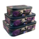 """Set of boxes """"Suitcase with flowers black"""" of 3 pieces W7565"""