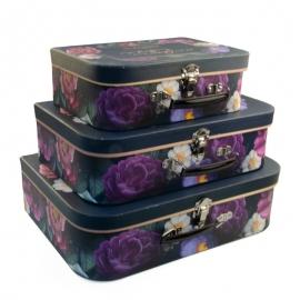"""Набор коробок """"Чемодан с цветами черная"""" с 3 шт W7565"""
