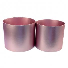 Набор металлизированных тубусов для цветов с 2 шт розовые W5609