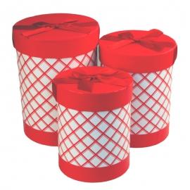 Набір тубусів в клітинку з 3 шт W5553 червоні