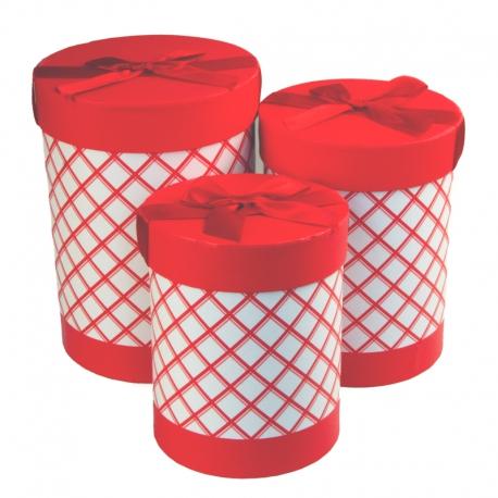Набор тубусов в клетку с 3 шт W5553 красные