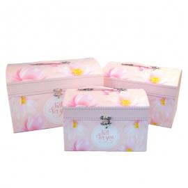 Набір коробок для квітів та подарунків Скриня із 3 шт W5163