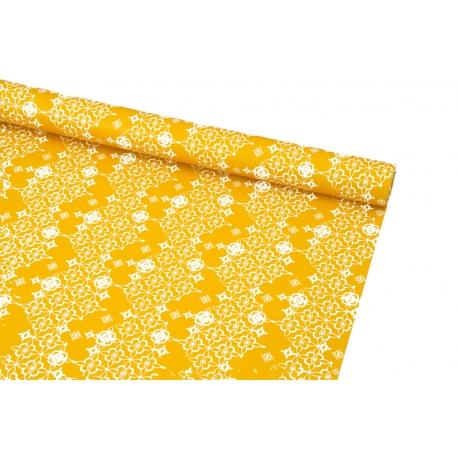 Бумага мелованная 0,7 х 10ярд Белый орнамент на оранжевом