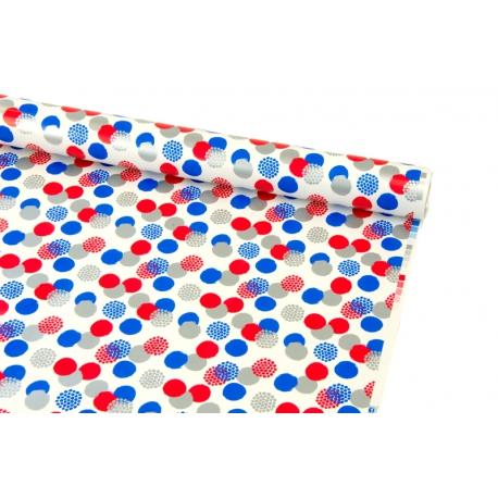Бумага мелованная 0,7 х 10ярд Синие и красные горох