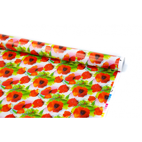 """Coated paper 0,7m x 10 yards """"Poppies"""""""