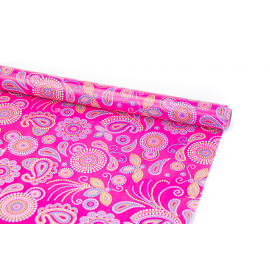 """Coated paper 0.7m x 10 yards """"Bohemian pattern"""" on pink"""