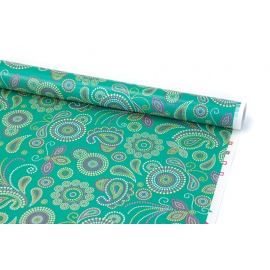"""Coated paper 0.7 m x 10 yards """"Bohemian pattern"""" on green"""