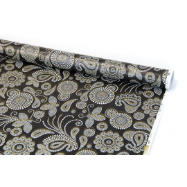 "Coated paper 0.7 m x 10 yards ""Bohemian pattern"" on black"