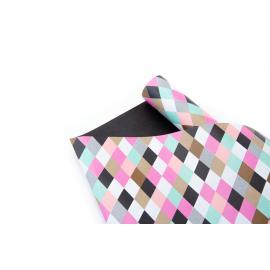 "Paper bilateral 0.7 m x 10 yards ""Colored Rhombuses + Black"""