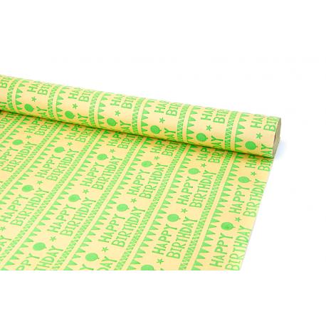 Бумага мелованная 0,7 х 10ярд «HAPPY BIRTHDAY» зеленым на крафте