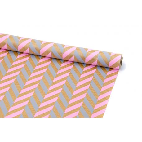 "Kraft paper 0,7х8m ""Spikelet"" Pink + Gray"
