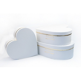Набор коробок Сердце с 3 шт W5311 Белые