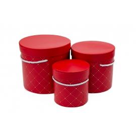 Набор тубусов для цветов в ромбик с 3 шт 1018 Красные