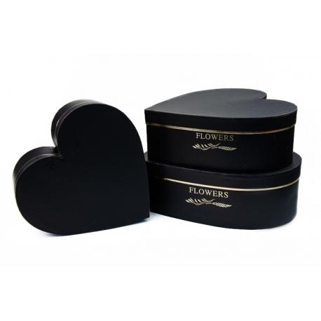 """Набор коробок """"Сердце"""" с 3 шт 9645 Черные"""