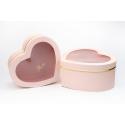 """Набор коробок """"Сердце"""" с прозрачным окошком с 3 шт 1011A Розовые"""
