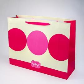 """Пакет паперовий """"Рожеві кола на молочному"""""""