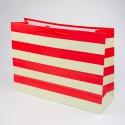 """Пакет паперовий """"Червоні та бежеві смужки"""""""
