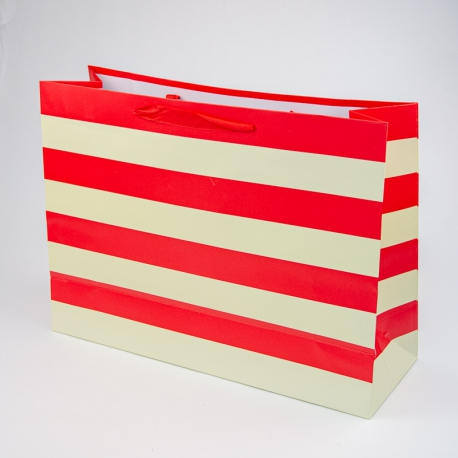 """Paper package """"Red and beige stripes"""""""