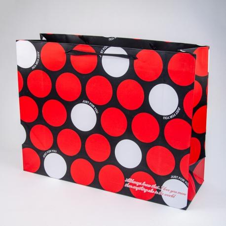 """Пакет картонний 47x36x15 см """"Just for you, в горошок"""""""