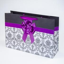 """Пакет паперовий """"Фіолетовий бант на білому орнаменті"""""""