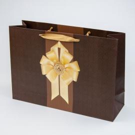 """Пакет паперовий """"Золотий бант на коричневому"""""""