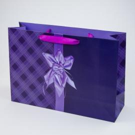 """Пакет паперовий """"Фіолетовий бант на клітинці"""""""