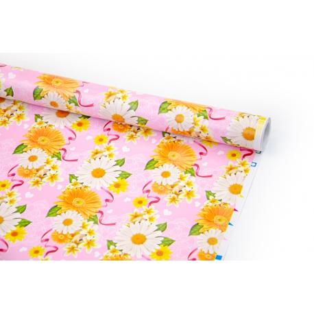 "Coated paper 70cm x 10yards ""Gerberas on pink"""
