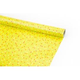 """Папір крейдований 70см х 10ярд """"Червоні та зелені крапки на жовтому"""""""