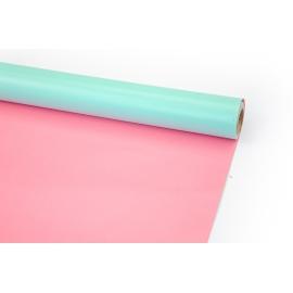 Папір крейдований 70см х 10ярд Бірюзовий+Рожевий
