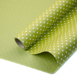 "Kraft paper 70 cm x 8 m ""Peas"" on color (Olive)"